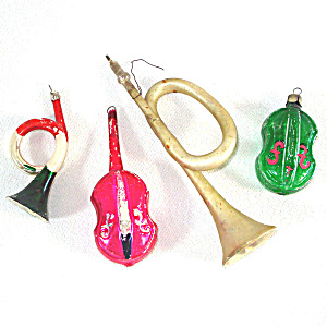4 Music Themed Vintage Glass Christmas Ornaments Horns, Cellos (Image1)