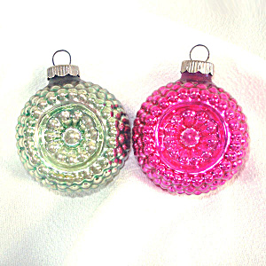Green, Pink Shiny Brite Bumpy Flower Indent Glass Christmas Ornaments (Image1)
