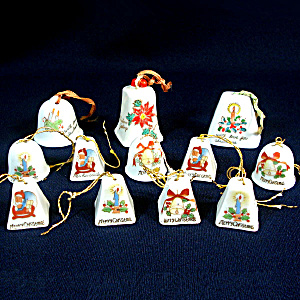 Dozen Miniature Porcelain Christmas Bell Ornaments (Image1)