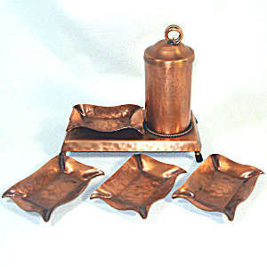 Gregorian Copper Smoking Set - Stand, Cigarette Dispenser, Ashtrays
