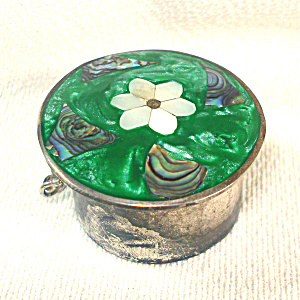 Alpaca Silver Inlaid Shell And Abalone Trinket, Pill, Or Ring Box