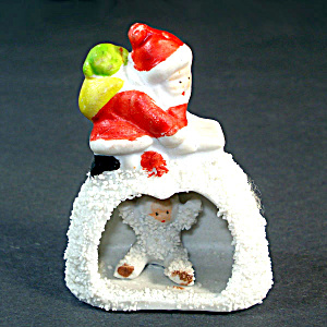 Christmas Snowbaby in Igloo With Santa On Roof Japan Snowbabies Figure (Image1)