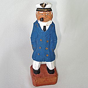 Carved Wood Folk Art Sea Captain Figure
