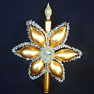 Fantasy Blown Glass Gold Tinsel Flower Christmas Tree Topper (Image1)