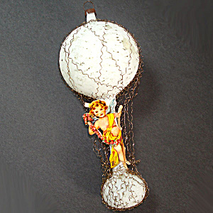 Scrap Angel on White Hot Air Balloon Wired German Glass Christmas Ornament (Image1)