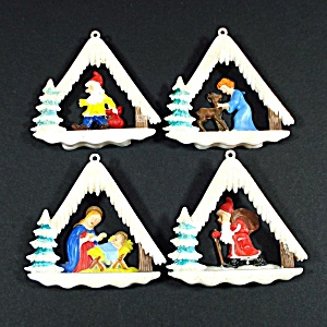 1950s Layered Plastic Stable Scene Christmas Ornaments