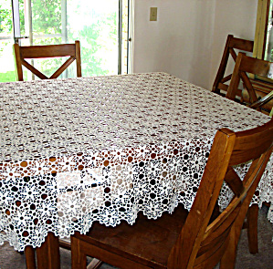 Crochet Flower Petals Ecru Tablecloth 64 By 72 Inches