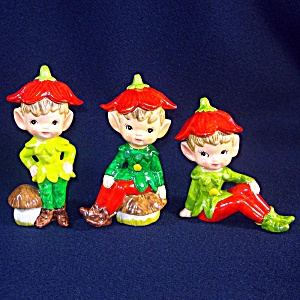 Set 3 Flower Boy Pixie Elf Ceramic Figurines