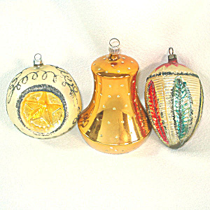 West German Large Bell, Triple Star Indent Glass Christmas Ornaments (Image1)