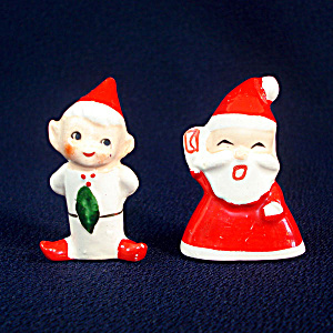Holt Howard Porcelain Santa and Elf Christmas Ornaments (Image1)