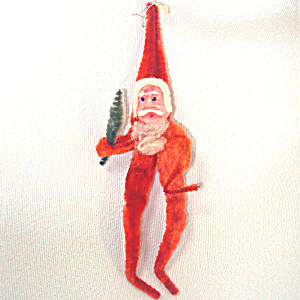 Occupied Japan Clay Face Chenille Santa Christmas Ornament (Image1)