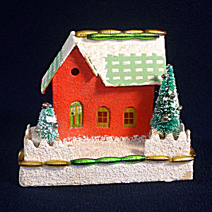 1950s Christmas Putz Village Mica Beaded House With Trees (Image1)