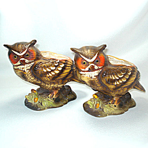 Pair Napco Great Horned Owl Ceramic Figural Planters (Image1)