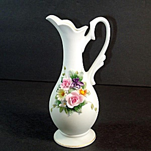 Lefton Bisque Ewer With Applied Flowers