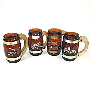 4 Siesta Ware Western Cowboy Saloon Glass Barrel Mugs