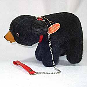 1960s Straw Stuffed Bear On Leash Toy, Yellowstone Park Souvenir