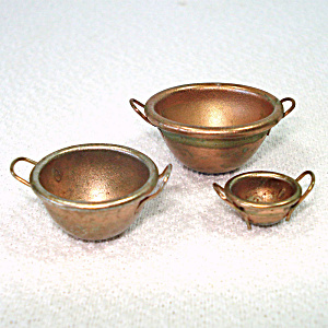 Miniature Dollhouse Copper Plated Mixing Bowls