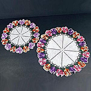 2 Crocheted Ruffled Pansy Flower Doilies