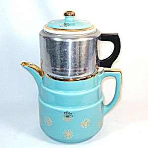 Blue With Gold Daisies Hall Terrace Dripolator Drip O Lator Coffee Pot