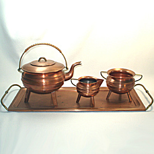 Copper Tea Set With Tray, Tripod Leg Ringed Form (Image1)