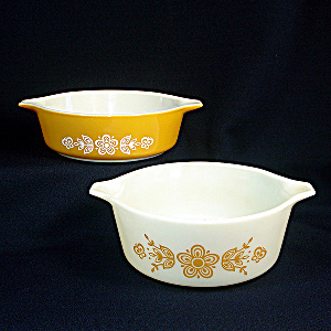 Pyrex Butterfly Gold 2 Bake Serve Store Casserole Dishes