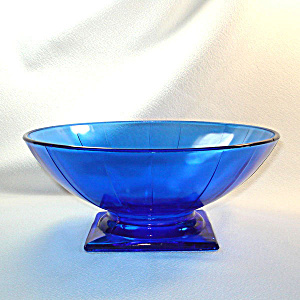 L E Smith Cobalt Blue Square Base Paneled Console Bowl
