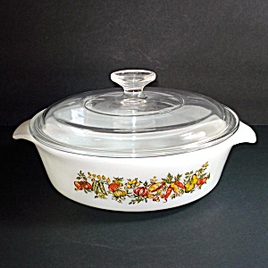 Fire King Harvest Vegetable Covered Casserole