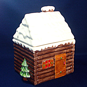 Hallmark Snow Covered Log Cabin Cookie Jar