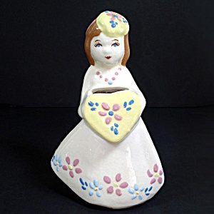 California Pottery Weil Ware Lady With Heart Flower Holder Vase (Image1)