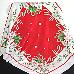 White Poinsettias, Candles 1950s Christmas Tablecloth (Image1)