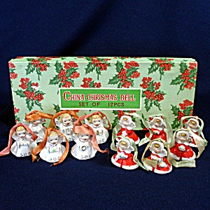 Box 1950s Tiny Porcelain Angel Bell Christmas Ornaments