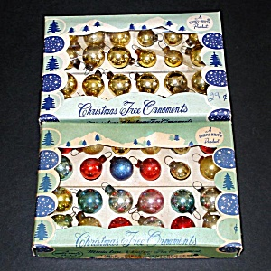 2 Boxes 24 Shiny Brite Japan Mini Feather Tree Christmas Ornaments