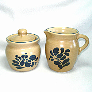 Pfaltzgraff Folk Art Creamer And Covered Sugar Bowl