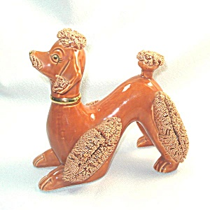 Pumpkin Orange Large Spaghetti Poodle Pottery Figurine