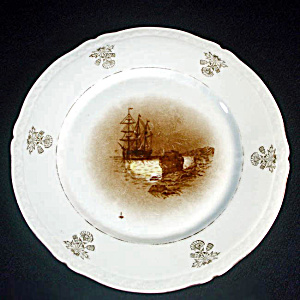 Porcelain Antique Plate Mayflower Ship Plymouth Rock Transfer Scene
