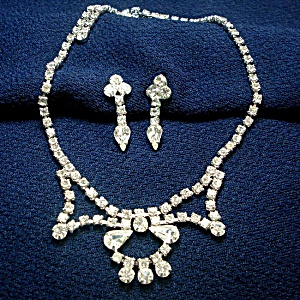 Clear Rhinestone Necklace and Screw Back Earrings (Image1)