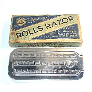 1930s English Rolls Razor Set Complete In Box With Strop, Whet Stone