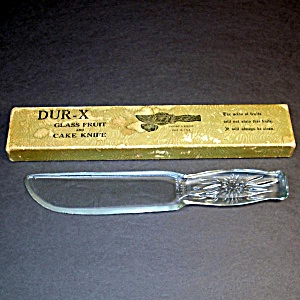 Dur-x 1930s Glass Fruit And Cake Knife In Original Box