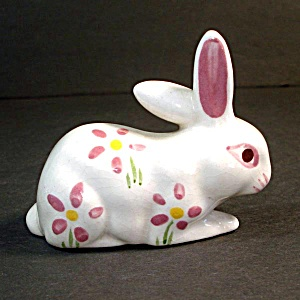 California Pottery Flowered Bunny Figurine