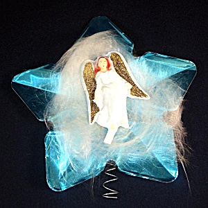 Doubl-Glo Angel on Foil Star Christmas Tree Topper (Image1)