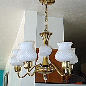 5 Arm Chandelier Hanging Light Fixture Brass White Hobnail Shades