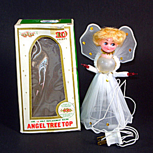 Angel Doll Wired Tulle Boxed 1960s Lighted Christmas Tree Topper