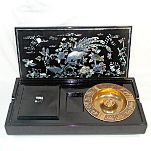 Lacquered Mother Of Pearl Inlay Smoking Set Box