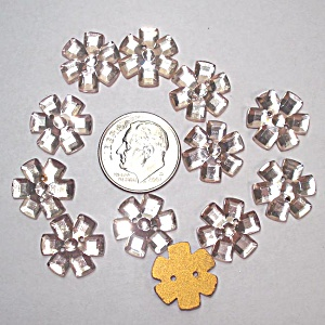 12 Pink Glass Flower Buttons Or Sew-on Jewels