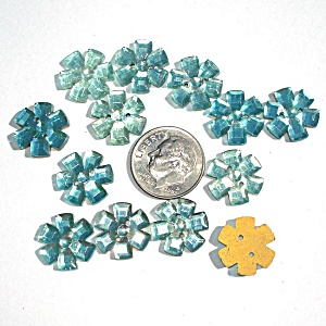 13 Blue Glass Flower Buttons Or Sew-on Jewels