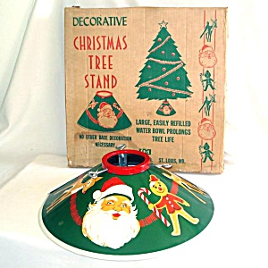 1950s Tin Litho Santa Claus Christmas Tree Stand In Box