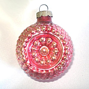 Pink Shiny Brite Bumpy Flower Indent Glass Christmas Ornament