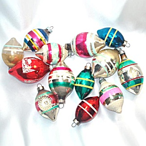 13 Vintage Usa Teardrop Shapes Stripes Glass Christmas Ornaments