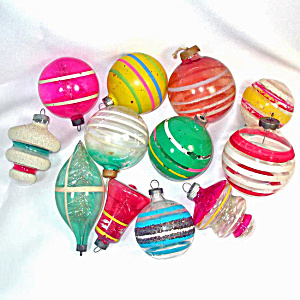 12 Glass Unsilvered Christmas War Ornaments