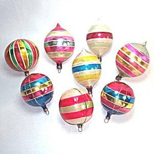 Colorful Stripes Poland And Germany Glass Christmas Ornaments